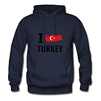 Vintage I Love Turkey Painting Styling And Regular Hoodies In Navy