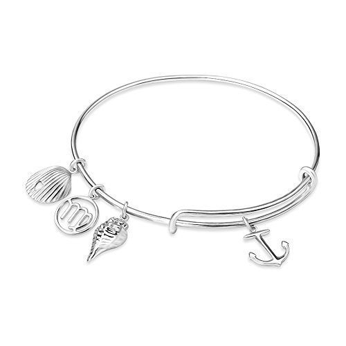 STROLLGIRL 925 Sterling Silver Charm Anchor Sea Shell and Conch Adjustable Bracelet with Personality Virgo Constellation Jewelry for Women