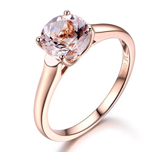 Round Cut Pink Morganite Engagement Ring,Solid 14K Rose Gold,Wedding Promise Ring,Ball Prong,Reco Ring by MYRAYGEM-engagement ring