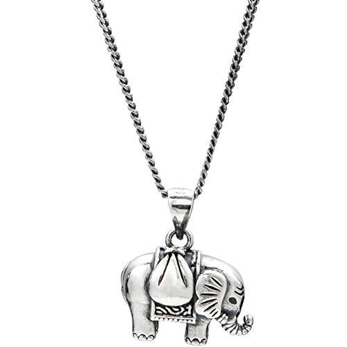 XAYN Buena Suerte Collar de Elefante Tailandés Colgante S925 ...