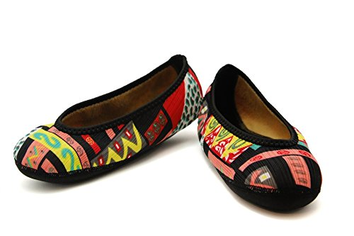 Nufoot Fuzzies Womens Shoes Ballet Flats, Patchwork, X Large