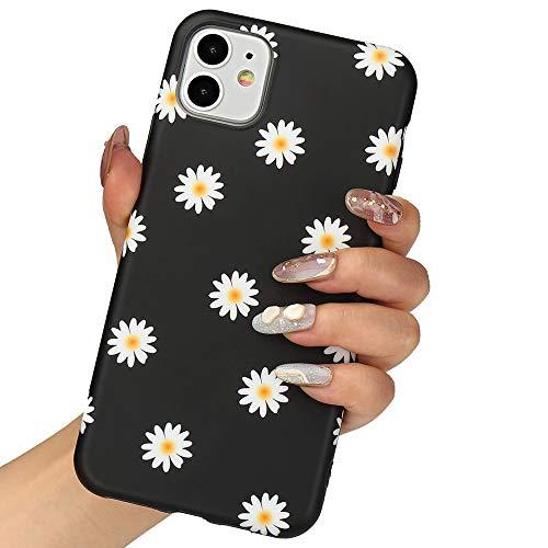 LLZ.COQUE for iPhone 11 Case, Cute Daisy Chrysanthemum Black Silicone Slim-Fit Anti-Scratch Anti-Finger Print Shock Proof Smooth Soft TPU Gel Case for iPhone 11 (Coque Iphone)