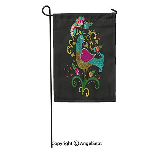 AngelSept Durable Creative Design 18x27in Garden Flag Colorful Ethnic Floral Pattern for Neckline Traditional Folk Bird Flowers Home Yard House Decor Outdoor Stand