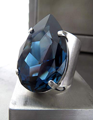 Large Midnight Blue Crystal Teardrop Ring with Swarovski Crystal - Adjustable Cuff Band, Unisex Mens