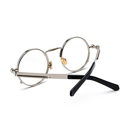 pour lunettes ovales soleil en rondes Argenté MUCHAO Lunettes de vintage soleil Cadre de lunettes métal dames hommes 8AOw0OHq
