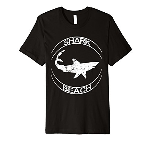 Mens Shark Beach Distressed Vintage Look Shark T Shirt Small Black