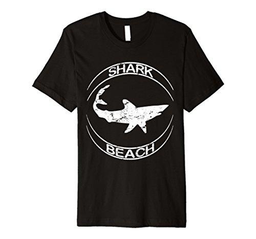 Mens Shark Beach Distressed Vintage Look Shark T Shirt Small Black