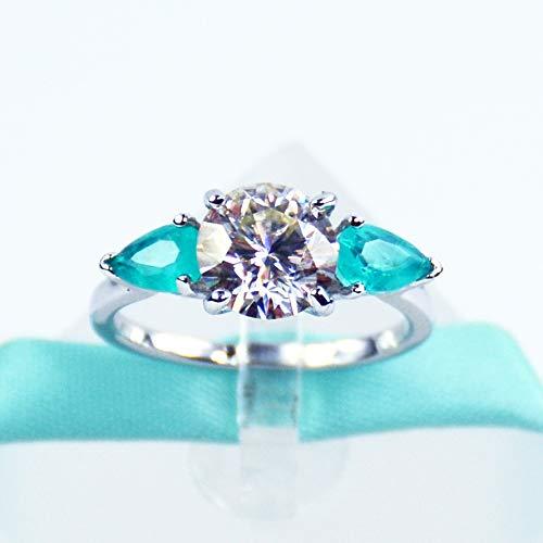 2Carat White Moissanite Diamond, Blue Pear Paraiba Tourmaline Three Stone Engagement Ring 925 Sterling Silver, Platinum Plated, Promise Ring