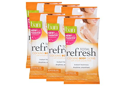 Ban Total Refresh Cooling Body Cloths With Smooth Powder Finish, Energize With A Light Citrus Scent, 10 ct. (6 Pack) - Instant Freshness Anytime, Anywhere