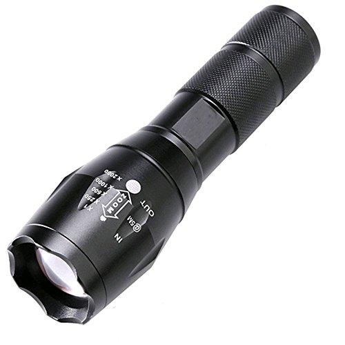 2500 Lumen Zoomable Cree XML T6 LED 18650 Flashlight Focus Torch Lamp Adjustable (Black)