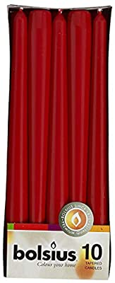 BOLSIUS Long Household Red Taper Candles - 10-inch Unscented Premium Quality Wax - 7.5 Hour Long Burning Dripless Candles Bulk Pack for Home Decor, Wedding, Parties and Special Occasions