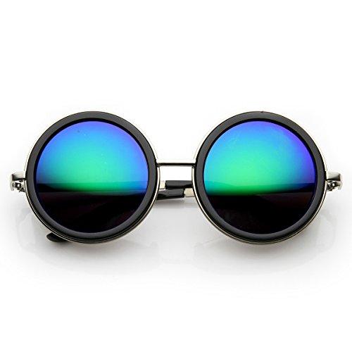 zeroUV - Unisex Premium Round Flash Mirror Studio Cover Sunglasses (Silver-Black - Ce Side Sunglasses Shield