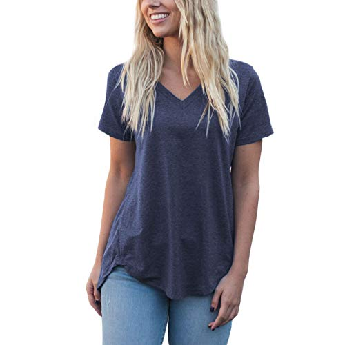 (Amaryllis Apparel Women's Heather Blue Loose Cut Casual Short Sleeve Top | 65% Polyester / 35% Cotton)