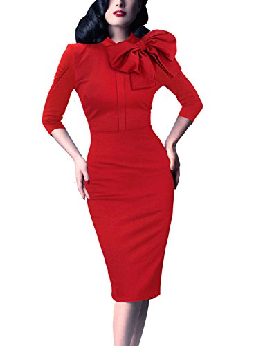 Celebrity Red Dress (VfEmage Women's Celebrity Vintage Bowknot Party Cocktail Stretch Bodycon Dress 8633 Red M)