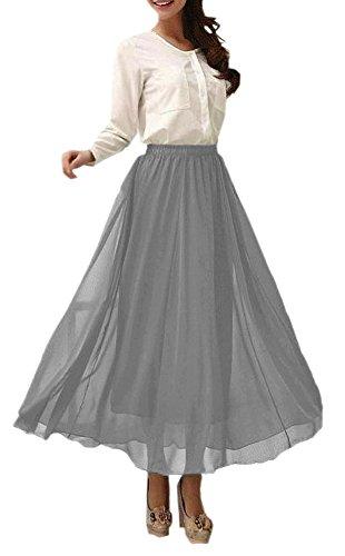 Afibi Womens Chiffon Retro Long Maxi Skirt Vintage Dress (XXX-Large, Dark Gray)