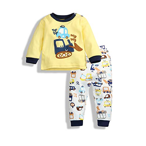 - Newborn Baby Boys Girls Cartoon Donkey Long Sleeve T-Shirt and Pants 2Pcs Casual Outfit Sets (6-12 Months, Yellow)