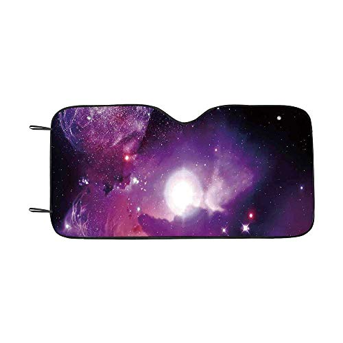 - Space Decorations Durable Car Sunshade,Fantasy Space Nebula with Magical Planet Movement in Star Clusters Galaxy Print for car,55