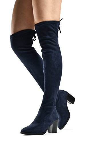 - Women's Haley Over The Knee Pull On Boot - Drawstring Back Comfort Block Chunky Heel Pointy Round Toe Navy SU 7.5