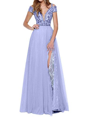 Lilac Charmant Traeger Tief Tanzenkleider Damen Ausschnitt Promkleider Abendkleider V Abschlussballkleider Lang rwvwIqO