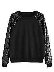 Black Long Sleeve Sequin Sweatshirt Pullover