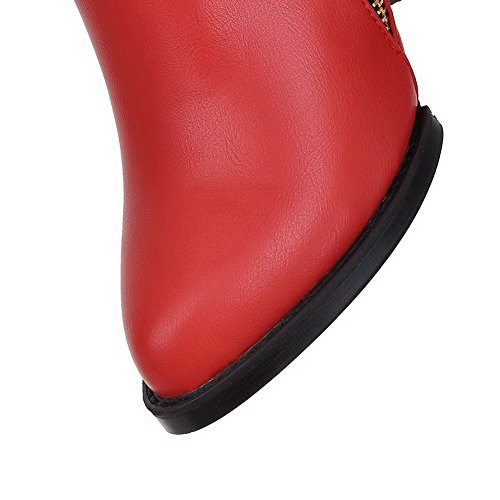 AgooLar Women's Zipper High-Heels PU Solid Pointed-Toe Boots Red bad1ltc7