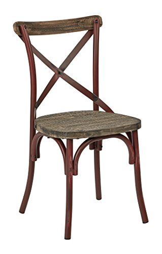 OSP Designs Somerset X-Back Antique Metal Chair with Hardwood Rustic Seat Finish, Red/Walnut