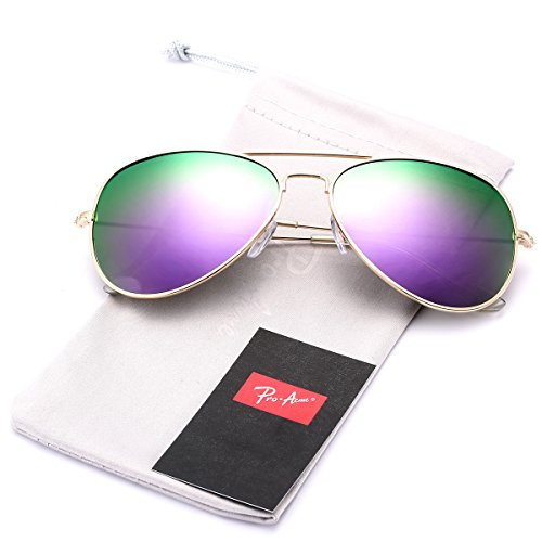 (Pro Acme Classic Polarized Aviator Sunglasses for Men and Women UV400 Protection (Gold Frame/Purple Mirrored Lens))