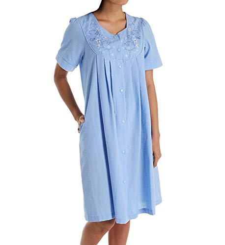 Miss Elaine Seersucker Short Snap Front Robe (853618) L/Chambray Blue