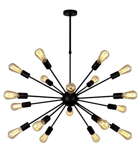 - VINLUZ Modern Farmhouse Chandelier Lighting-18 Lights Sputnik Chandelier Black Industrial Pendant Semi-Flush Mount Ceiling Light Fixture