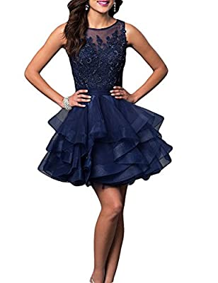 MonaBridal Women's Appliqued A Line Homecoming Dress Short Beaded Prom Gown VK15