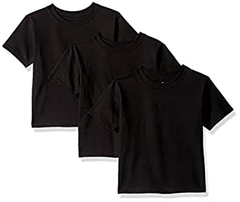 Hanes Toddler Boys' Comfortsoft Tee (Pack of 3), Black, 2T