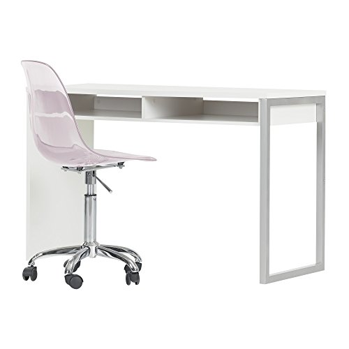 South Shore Interface Pure White Interface Desk with Clear Pink Blush Office Chair with Wheels by South Shore