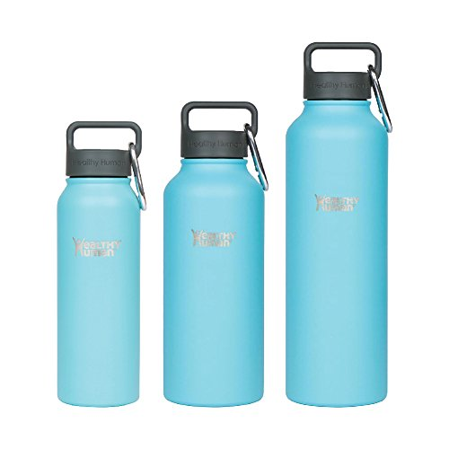 Healthy Human Water Bottle. Stainless Steel Vacuum Insulated Double Walled Flask - 4 sizes & 15 colors. 21oz Glacier