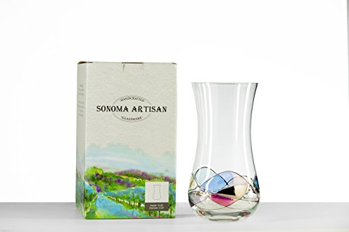 Hand Painted Artisan Vase | Sonoma Valley Inspired Glassware Blends Beauty with Function | Unique and Special Gift Idea | Arrives Beautifully Packaged