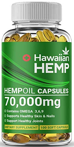 Premium-Hawaiian-Hemp-Oil-Capsules-70000-MG-Per-Bottle-Natural-Pain-Stress-Anxiety-Relief-Joints-Bones-Sleep-Mood-Support-Maximum-Value-Rich-in-Omega-3-6-9