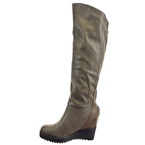 Sopily - Chaussure Mode Botte Sexy Genoux femmes Peau de serpent Talon compensé plateforme 11 CM - Intérieur fourrure synthétique - fourrée - Gris