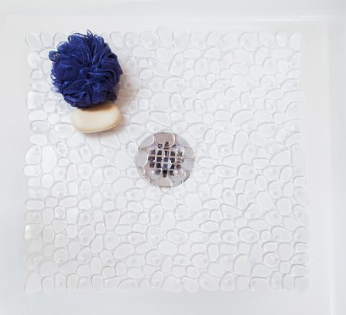 Tushies & Toes River Rock Shower Mat, Square, Clear