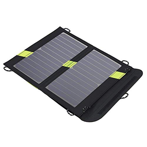 (X-DRAGON Portable Solar Chargers 14W SunPower Solar Panel Waterproof Foldable Camping Battery Charger with Dual USB Port & SolarIQ Technology for iPhone 8/X/7, iPad Mini, Other Android Cell Phones)