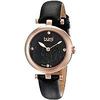 Burgi Women's BUR128BKR Diamond Accented Flower Dial Rose Gold & Black Leather Strap Watch