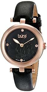 Burgi Women's Black Leather Band Watch - BUR128BKR