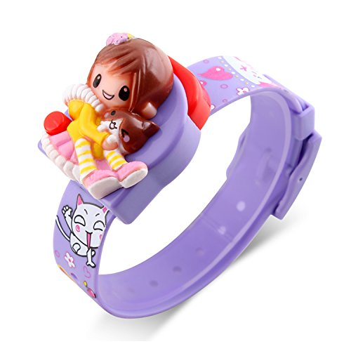 Girls Digital Watch, Kids Children Fashion Casual Barbie Doll Cartoon Decoration Watches Calendar Not Water-resistant Outdoor Party Creative Students Comfortable Lady Purple