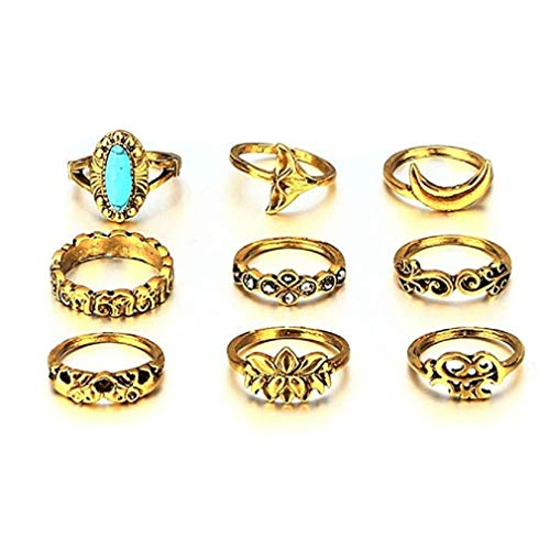 (ICHQ Ring Set, Women Vintage Carved Openwork Diamonds Set with Pearl Stars Flower Crown Combination Plain Finger Tip Ring Set Jewelry Gift (A))