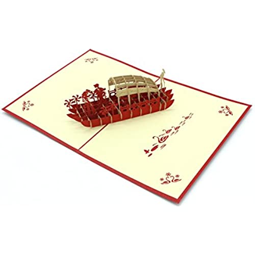 Michel Production 3D Handcrafted Pop up Valentines on Boat Greeting Cards 15x20cm Sales