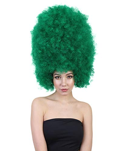 Halloween Party Online Super Size Jumbo Afro Wig Collection, Adult & Kids Breathable Capless Cap (Adult, Dark Green)