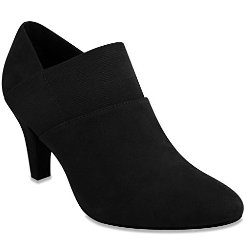 London Fog Womens Bobbie Heel Ankle Booties Black 8.5