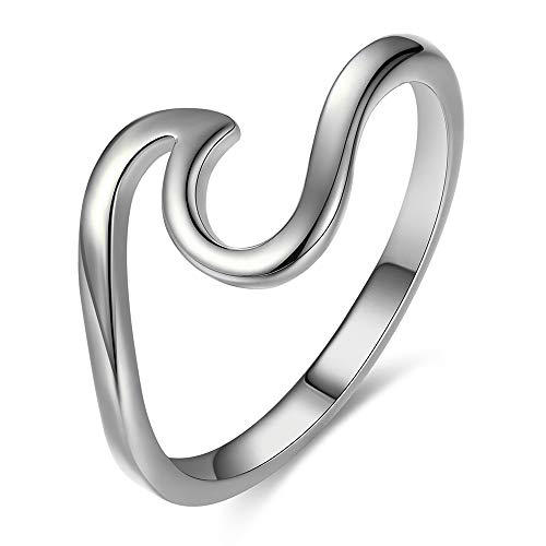 Bamos Minimalism 925 Sterling Silver Opal Wave Ring for Girls Daily Wear(Silver 8.5)