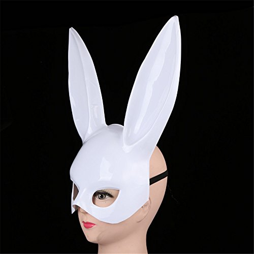 Tuscom Bright Easter Party Rabbit Ears Mask Half Face Masks Nightclub Bar Masquerade(2 Style 18x 38CM)) (White) -