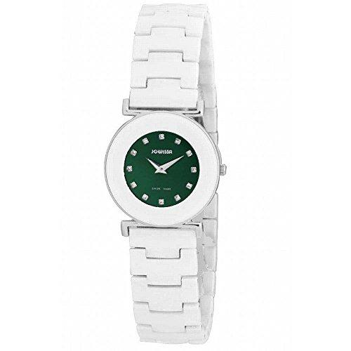 Jowissa Women's J3.058.M Elegance Stainless Steel Green Sunray Dial Ceramic Watch
