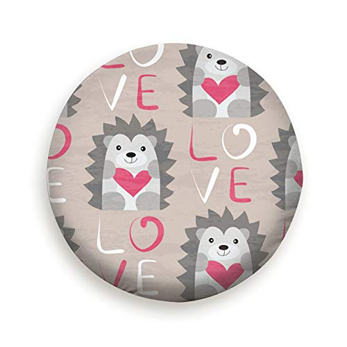Spare Tire Cover Hedgehog Heart Hand Drawn Animals Wildlife Animal Holidays Polyester Water Proof Dust-Proof Universal Spare Wheel Tire Cover Fit for Jeep,Trailer, Rv, SUV and Many Vehicle