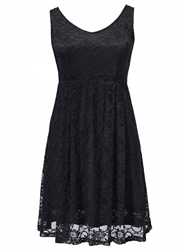 Aneledy Women¡¯s Round Neck High Waist Style Cocktail Party Midi Lace Dress
